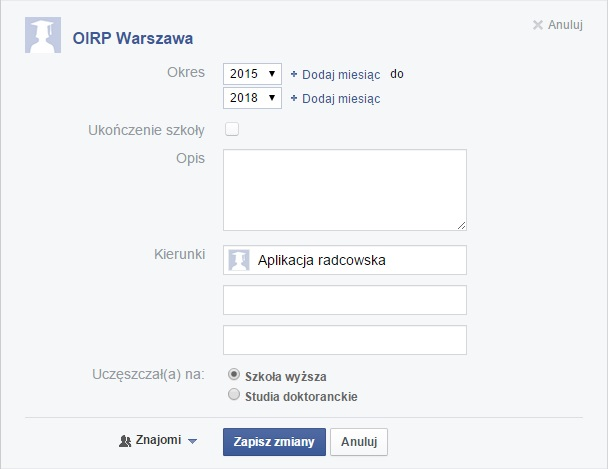 Aplikacja radcowska na Facebooku