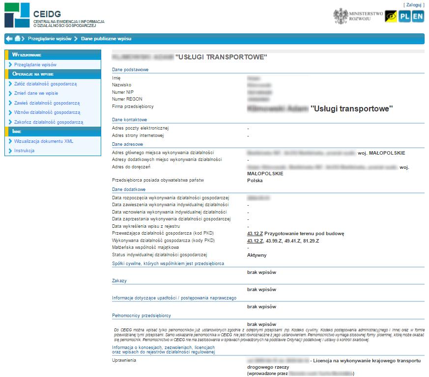 Przykładowy wpis w CEIDG